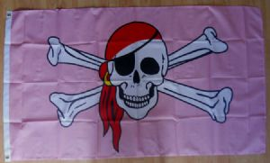Pirate Pink Pirate Large Flag - 5' x 3'.